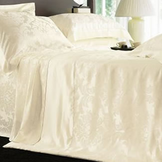 Gingerlily 100% Silk Cream Jacquard Duvet Cover - King