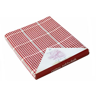 Walton & Co. Auberge Red Table Cloth 100% Cotton - Tablecloth 170cm Round
