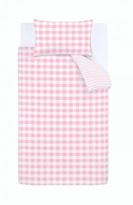 Bianca Check and Stripe Pink Duvet Cover Set - Double
