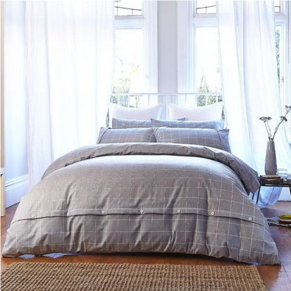 Bianca Cottonsoft Brushed Cotton Print Grey Duvet Cover Set Single