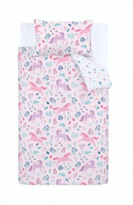Bianca Woodland Unicorn and Stars Pink Duvet Cover Set - Double