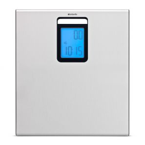 Brabantia Digital Bathroom Scales with Wall Clock - Matt Steel