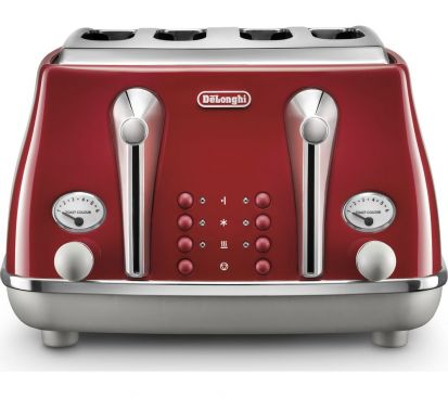 Delonghi Icona Capitals 4 Slice Toaster - Red