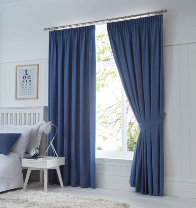 Dijon Ready-Made Blackout Pencil Pleat Curtains – Denim 90