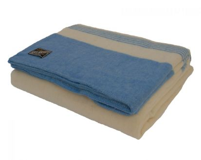 Killarney 100% Pure New Wool Blanket White/Blue Double