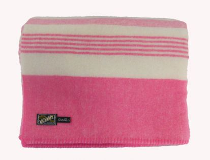 Killarney 100% Pure New Wool Blanket White/Pink Double