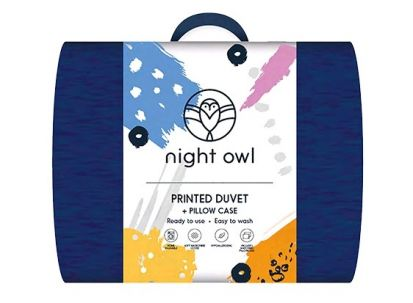 Night Owl Printed Duvet + Pillowcase Blue - Single