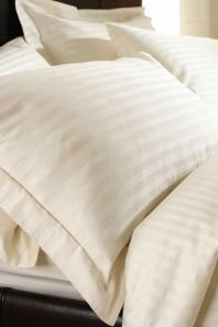 Sateen Stripe Ivory Duvet Cover Set - King