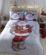 Bedmaker Father Christmas Flannelette Duvet Cover Set Single