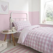 Bianca Check and Stripe Pink Duvet Cover Set - Double 2
