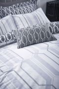 Bianca Cottonsoft Geo Duvet Cover Set Grey - King 4
