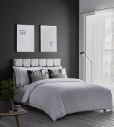 Karen Millen Herringbone Jacquard White Duvet Cover Set - Superking