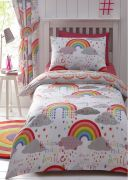 Kid's Club Clouds and Rainbows Duvet Cover Set - Double