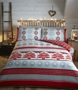 Portfolio Aspen Flannelette Cotton Duvet Cover Set Red - Superking