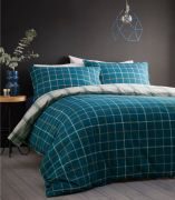 Portfolio Iona Teal Brushed Cotton Duvet Cover Set - Double
