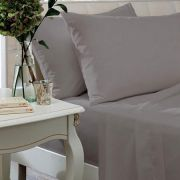 The Linen Consultancy 200 Thread Count Silver Flat Sheet - King