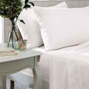 The Linen Consultancy 400 Thread Count White Flat Sheet - King